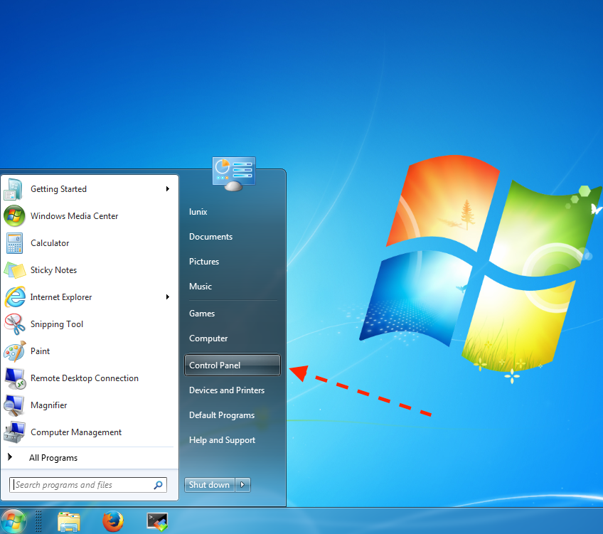 1. Open the Start menu by clicking it and select the Control Panel from the right pane.