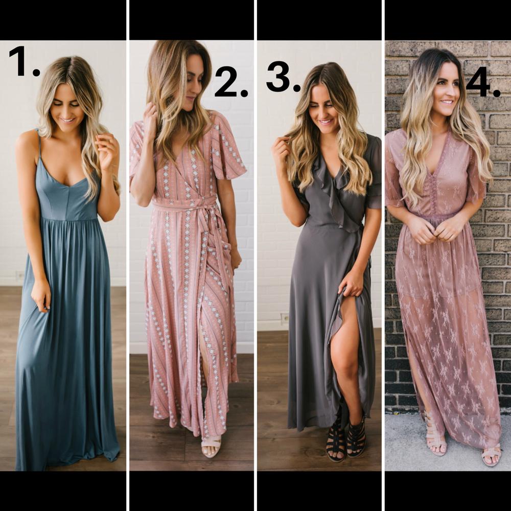 1.  Blue Dress   2.  Blush Wrap Dress   3.  Grey Dress   4.  Lace Maxi Romper