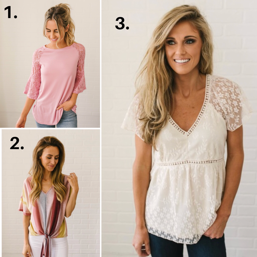 1.  Pink lace  (this is about my suggested limit for bright pink!)  2.  Dusty Multicolor top   3.  White lace