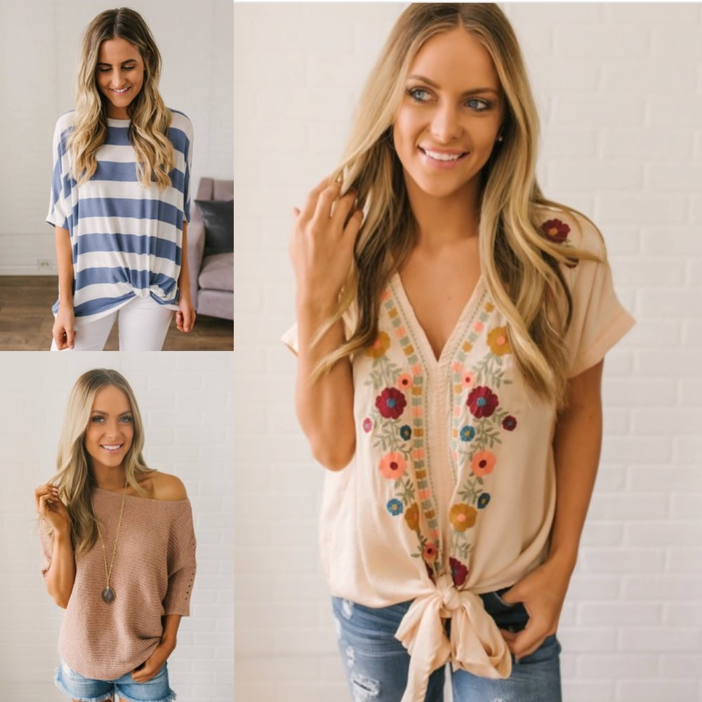 1.  Blue + white stripe   2.  Off the shoulder top   3.  Embroidered tie front
