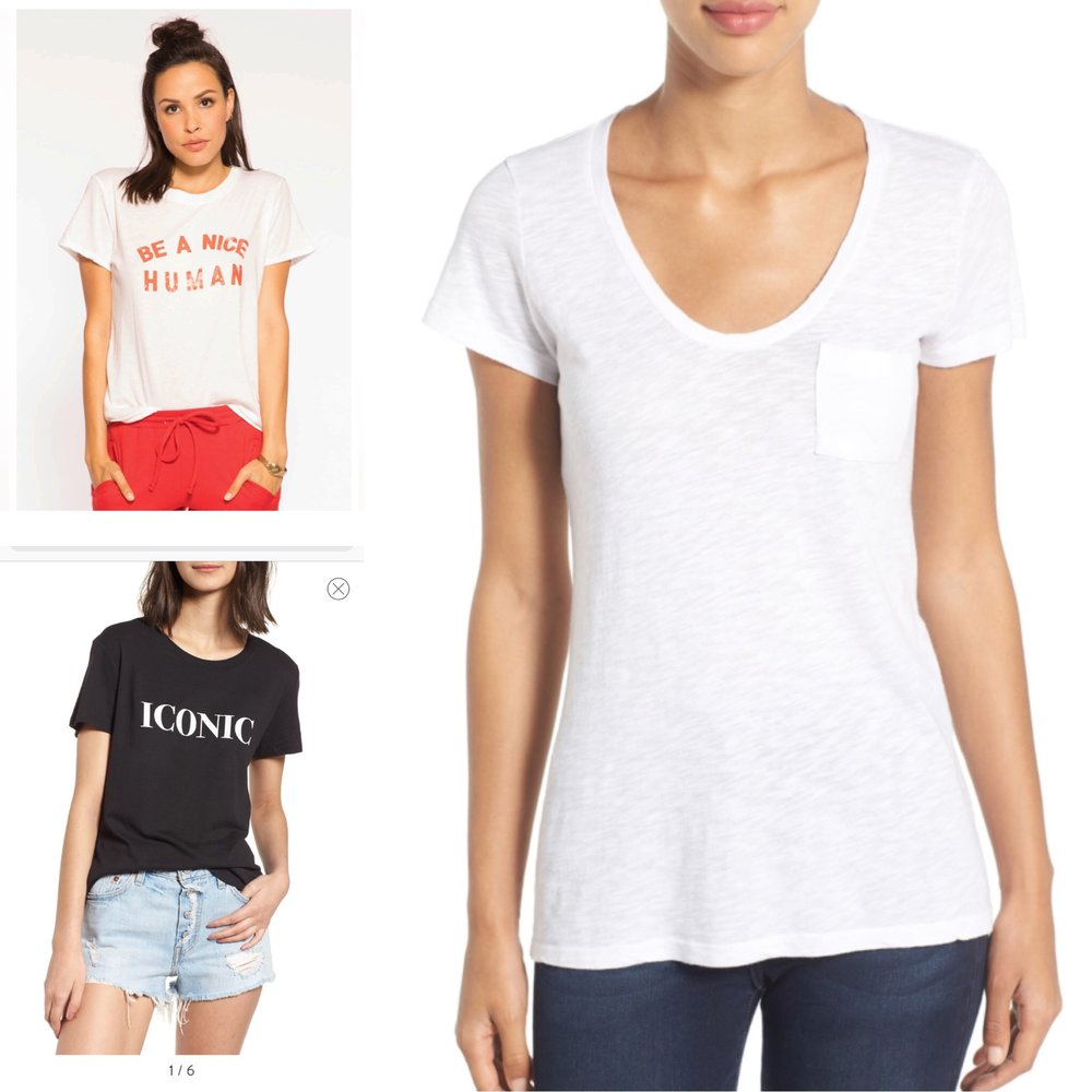 1.  Be a Nice Human tee  (I actually just bought this and LOVE it!)  2.  Iconic tee   3.  Basic white tee  (I love this brand, but any white, black, or grey tee is an easy win)