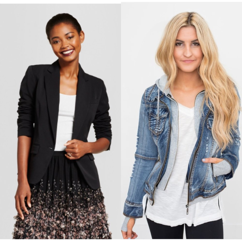1.  Blazer  (I tried this on at our Target and it is SO soft and the price point is perfect for those of us who want a blazer but aren't ready to commit to a high end version.)  2.  Denim hoodie combo   3. Not pictured: Moto jackets! These are super trendy right now and attention locals: our Target has the most adorable one in a taupe color! Its not available online yet but if you're local go have a look!