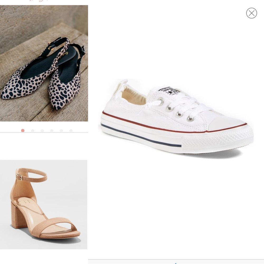 1.  Leopard flats   2.  Nude heels   3.  Converse