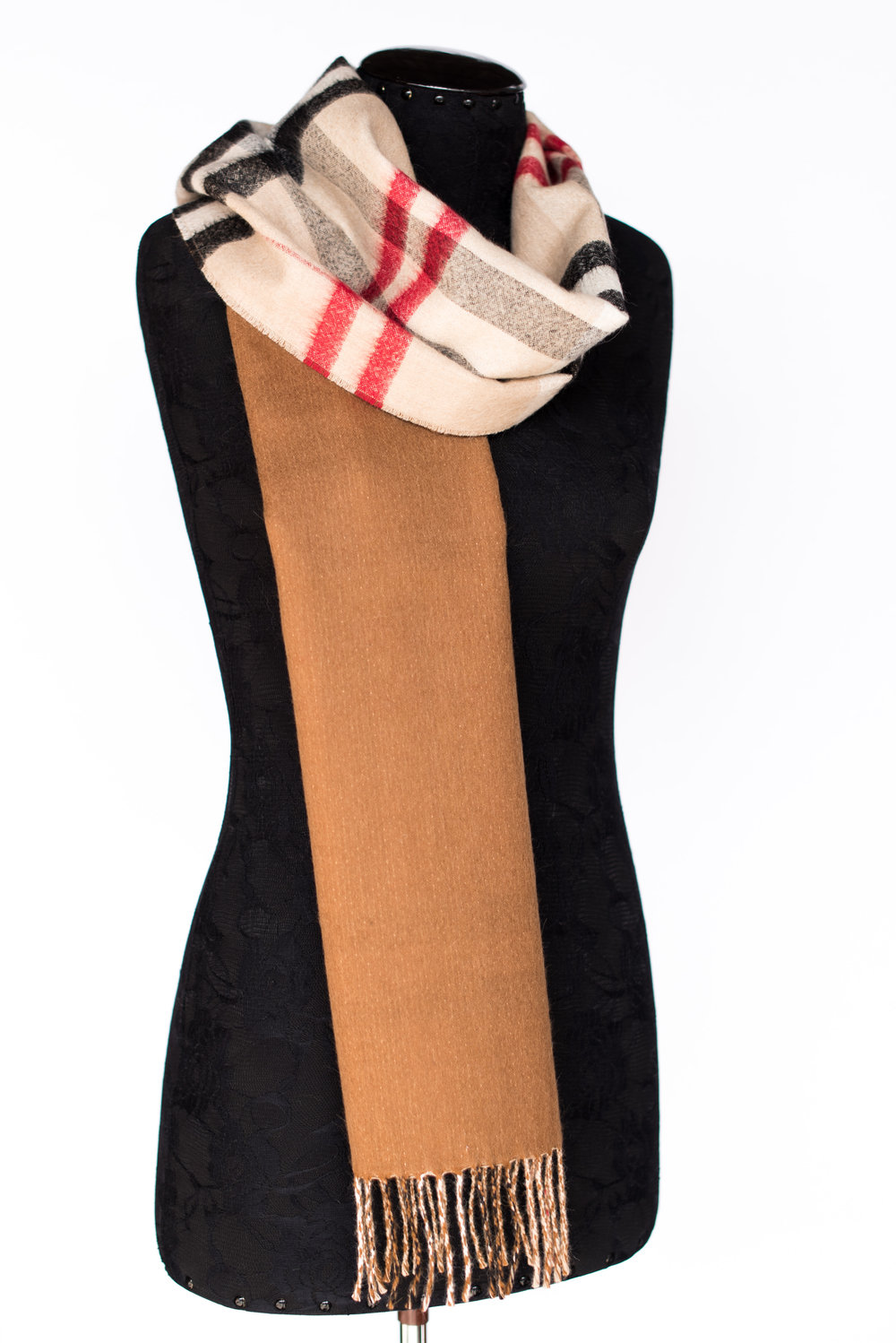 Double Faced Solid/Scottish Scarf -