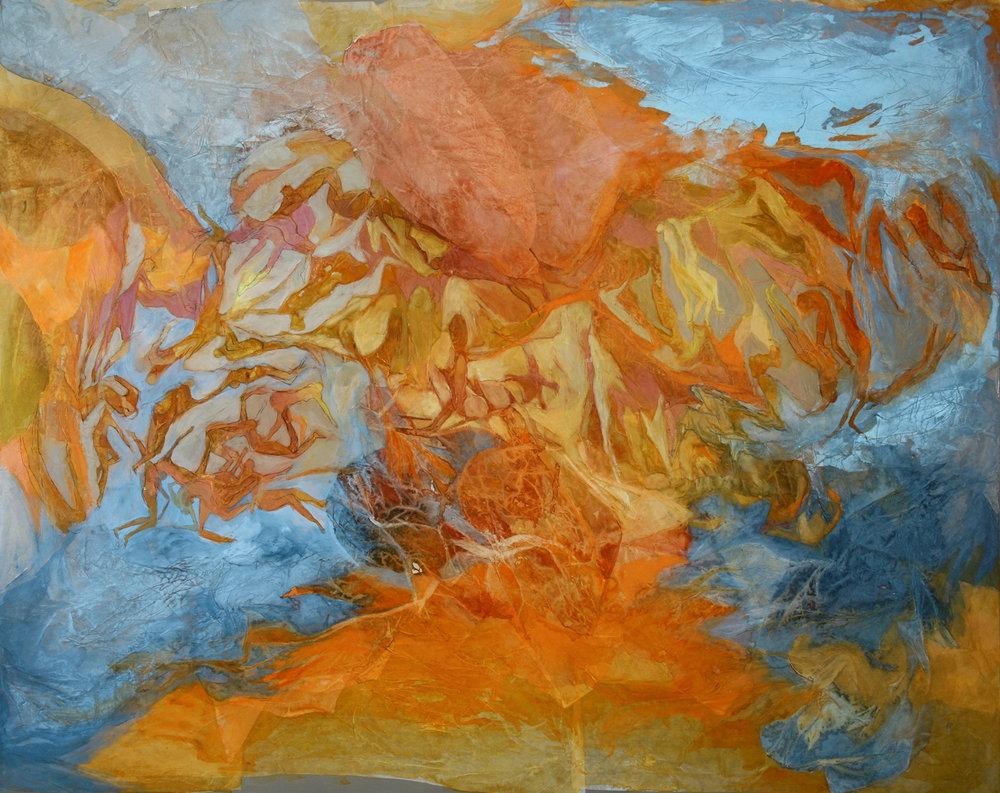 El mar sin océano, ni silencio  2006-2007 - Técnica mixta sobre tela - 120 x 150 cm