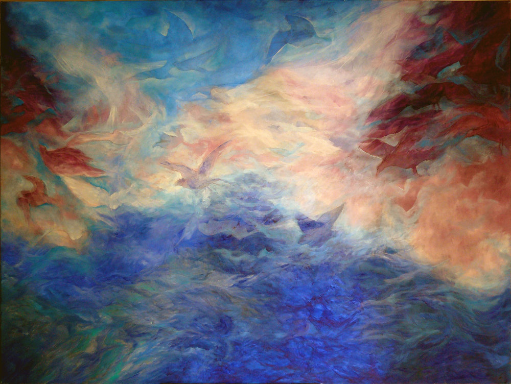 Peregrinos astrales - Óleo sobre tela - 160 x 140 cm