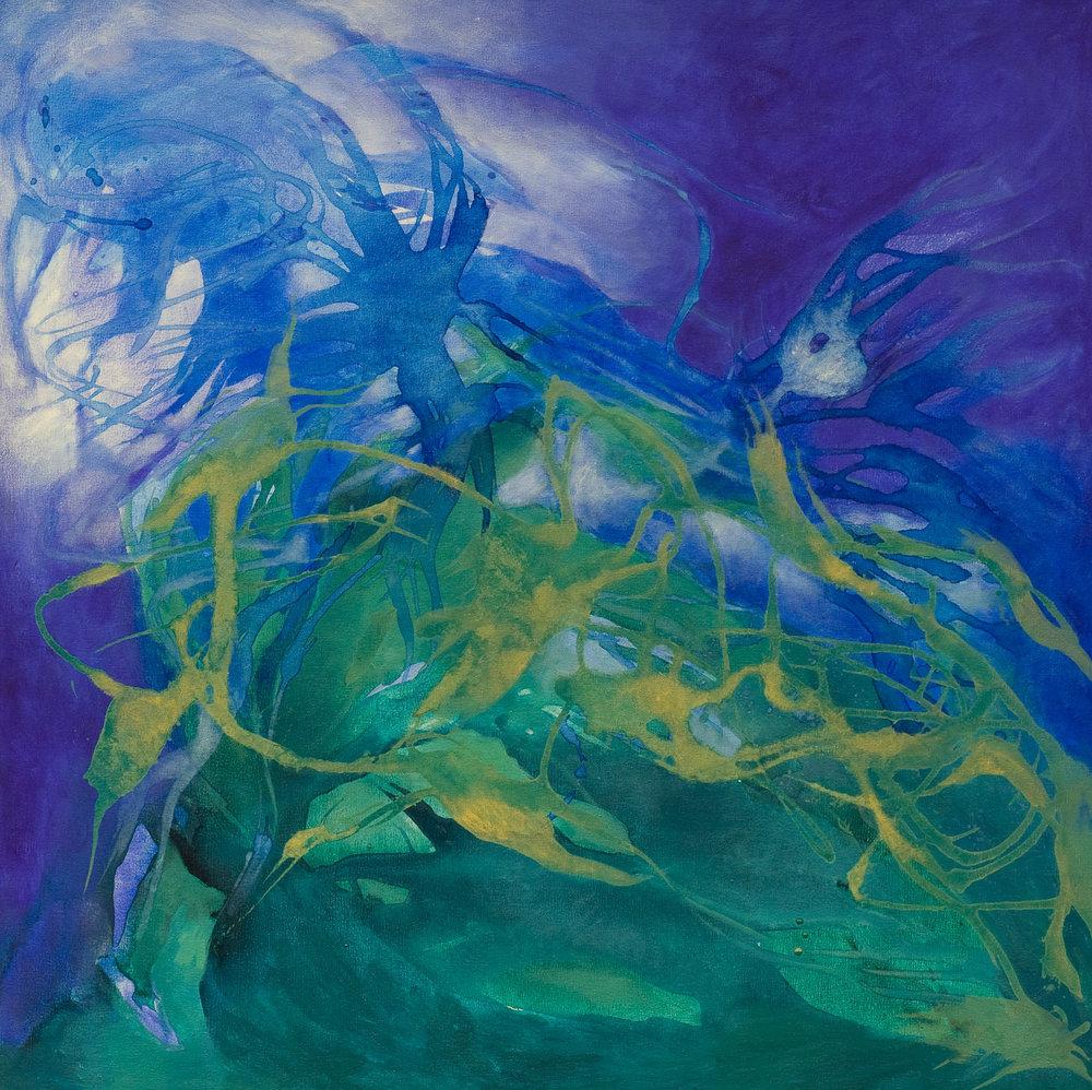 El sonido del agua - Acrílico sobre tela - 100 x 100 cm