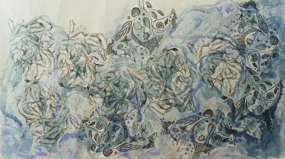 Oceano abierto - Dibujo en tinta sobre papel de arroz - 150 x 85 cm