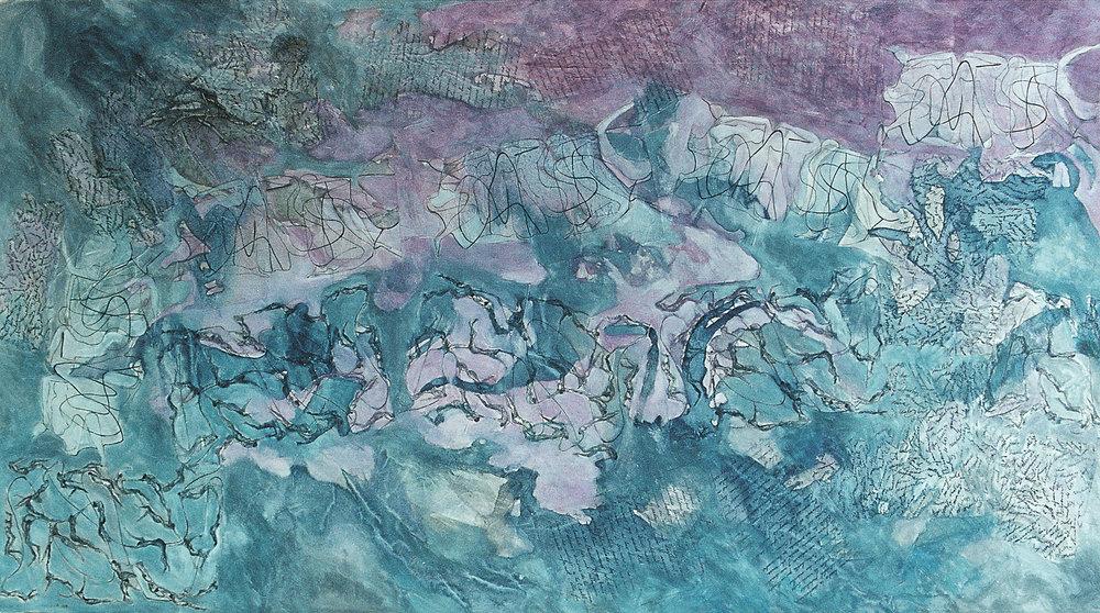 Las sendas del laberinto - Acuarela papel de arroz - 150 x 85 cm