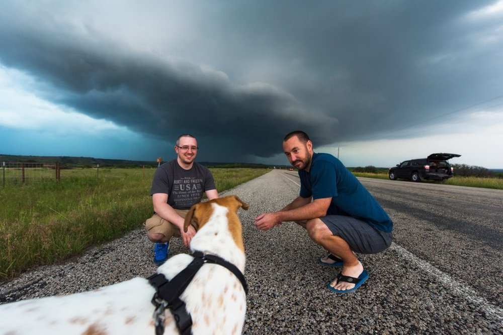 Joplin has it pretty easy on the road. Usually while I'm looking at data, she's getting spoiled with treats from other chasers. Over the past two years, she's become quite the little celebrity in the storm chaser world and is kind of considered a good luck charm by some, haha.