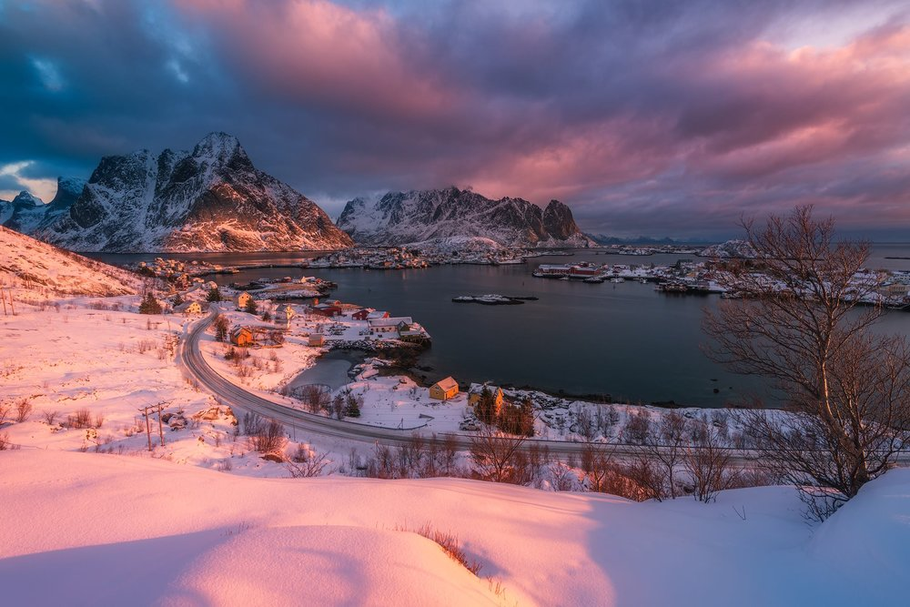 A winter sunrise in the Lofoten Islands of Norway.  Nikon D850 | Nikon 14-24mm