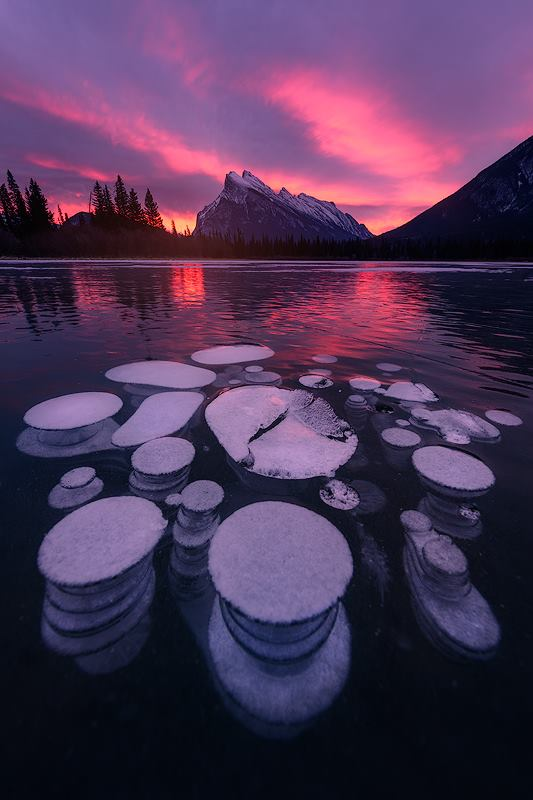 Methane bubbles trapped in ice on the newly frozen Vermillion Lake in Banff National Park in Canada.  Nikon Z7 | Nikon 14-24mm
