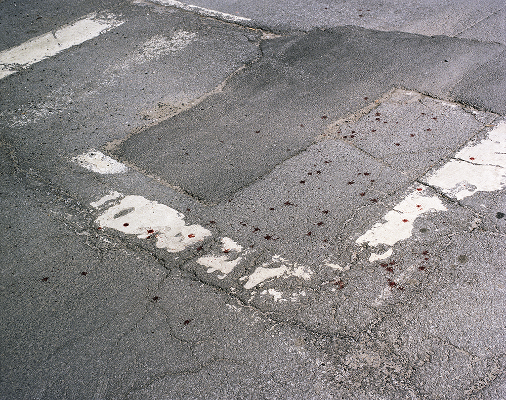 "49. Untitled (blood drops and street). Inkjet print. 20 X 16"". 2016."