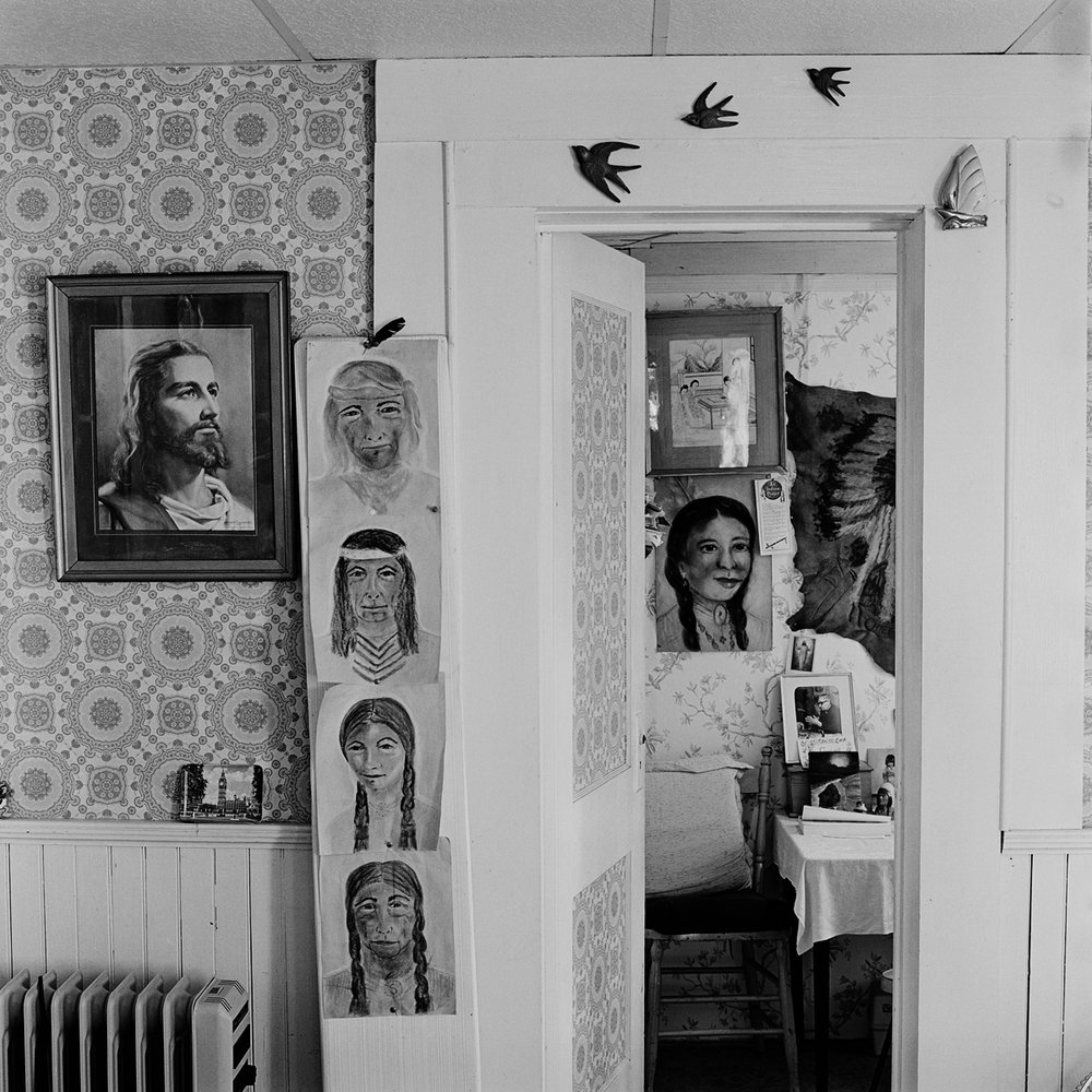 "4. Jesus and Spirit Guide Portraits, Bartlett House, Lily Dale. 1996. Toned Gelatin Silver Print. 15""X15""."