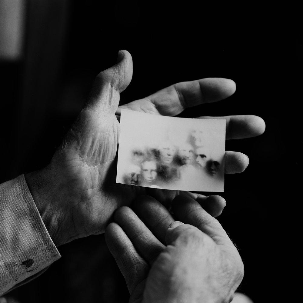 "14. Robert Shatzel Holding Fraudulent Spirit Photographs. Lily Dale. 1996. Toned Gelatin Silver Print. 15""X15""."
