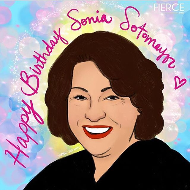 """Feliz Cumpleaños to Supreme Court Justice Sonia Sotomayor, the first Latina to make it onto the bench!! """"We educated, privileged lawyers have a professional and moral duty to represent the underrepresented in our society, to ensure that justice exists for all, both legal and economic justice."""" #SoniaSotoamayor #Lawtina #Latina"""