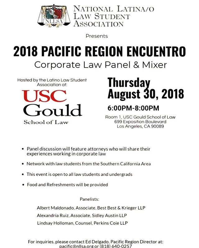 Attention Pacific Region! Join our Pacific Regional Director, Ed Delgado for our NLLSA 2018 Pacific Region Encuentro Corporate Law Panel & Mixer in California on August 30th from 6-8PM !! RSVP at https://docs.google.com/forms/d/e/1FAIpQLSfHHU2_qoYb7TjTk_vtKiHcPAo7fLCYqBBIVde1_iB4kJJnIA/viewform . For questions email Ed at pacific@nllsa.org ⚖️ #CA #LA #NLLSAEncuentro #LawMixer