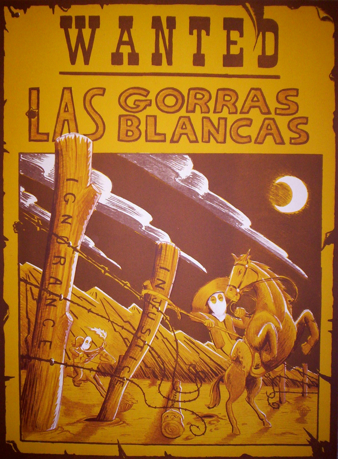 "Las Gorras Blancas   Lithograph, 22""x30"" Printed at Tamarind Institute"