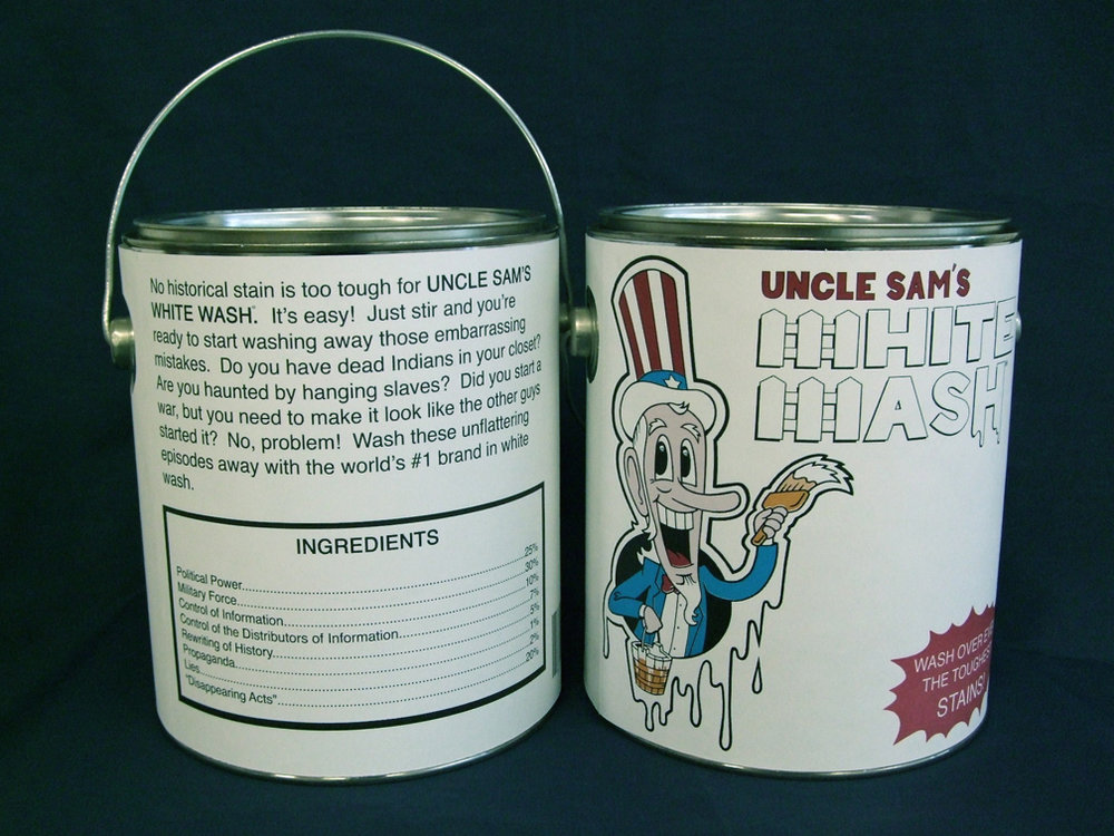 "Uncle Sam's White Wash    Offset press print on one gallon can. 6 ½"" diameter x 7 ¾"" H"