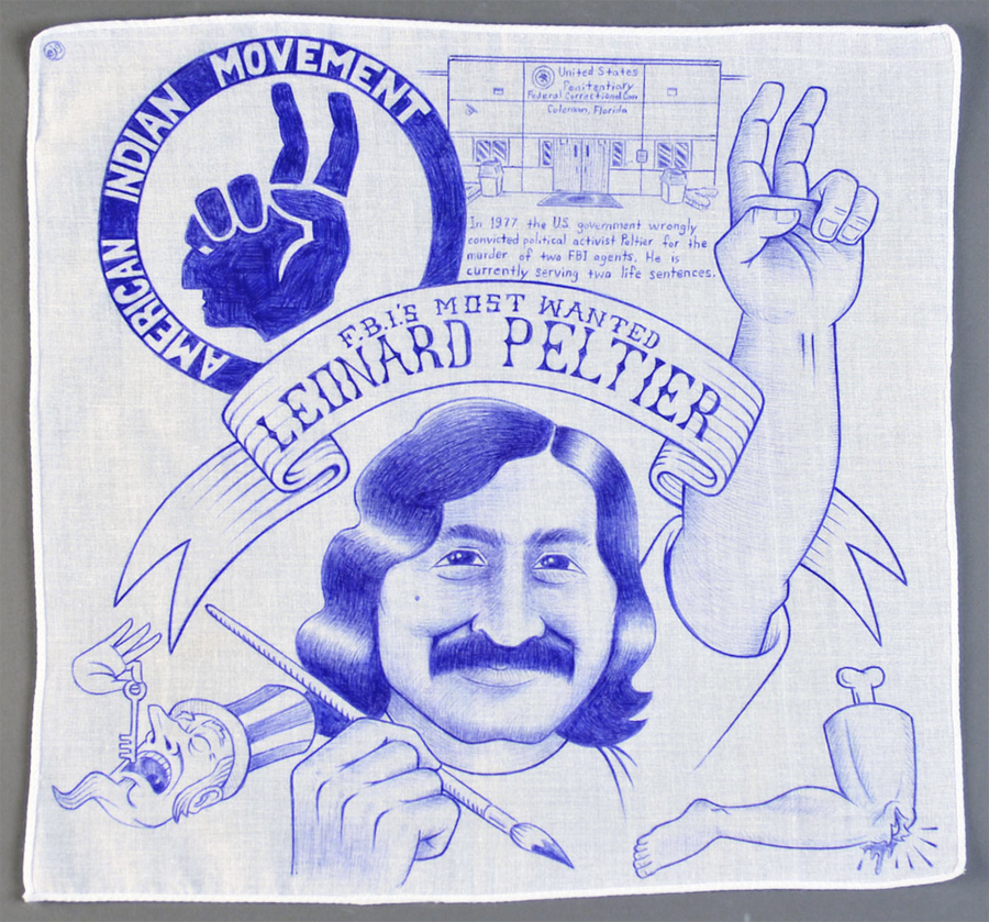 "Paño: Political Prisoner series  ,   Leonard Peltier   Ball point pen on handkerchief. 14""x14"""