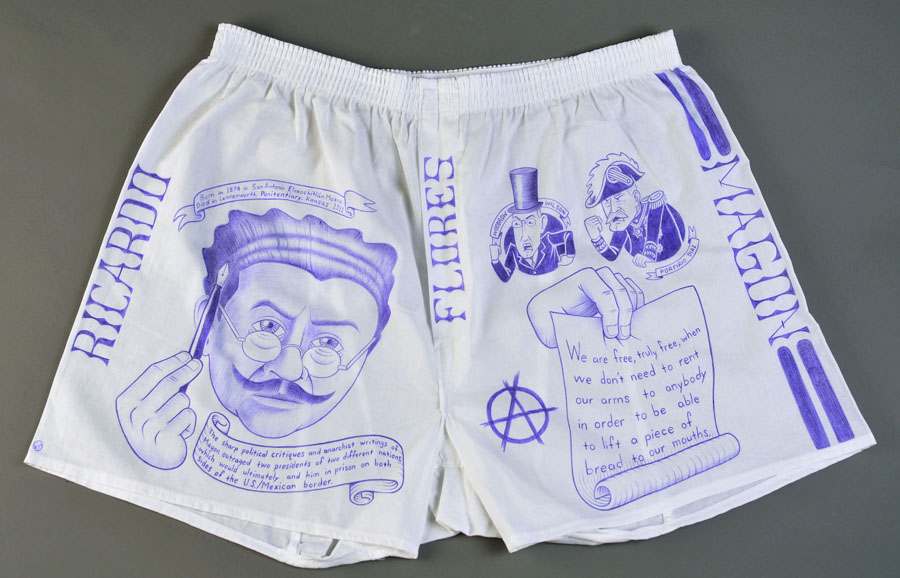 """Paño:   Political Prisoner Series, Ricardo Flores Magon""  Ball point pen on underwear. 18"" x 28"""