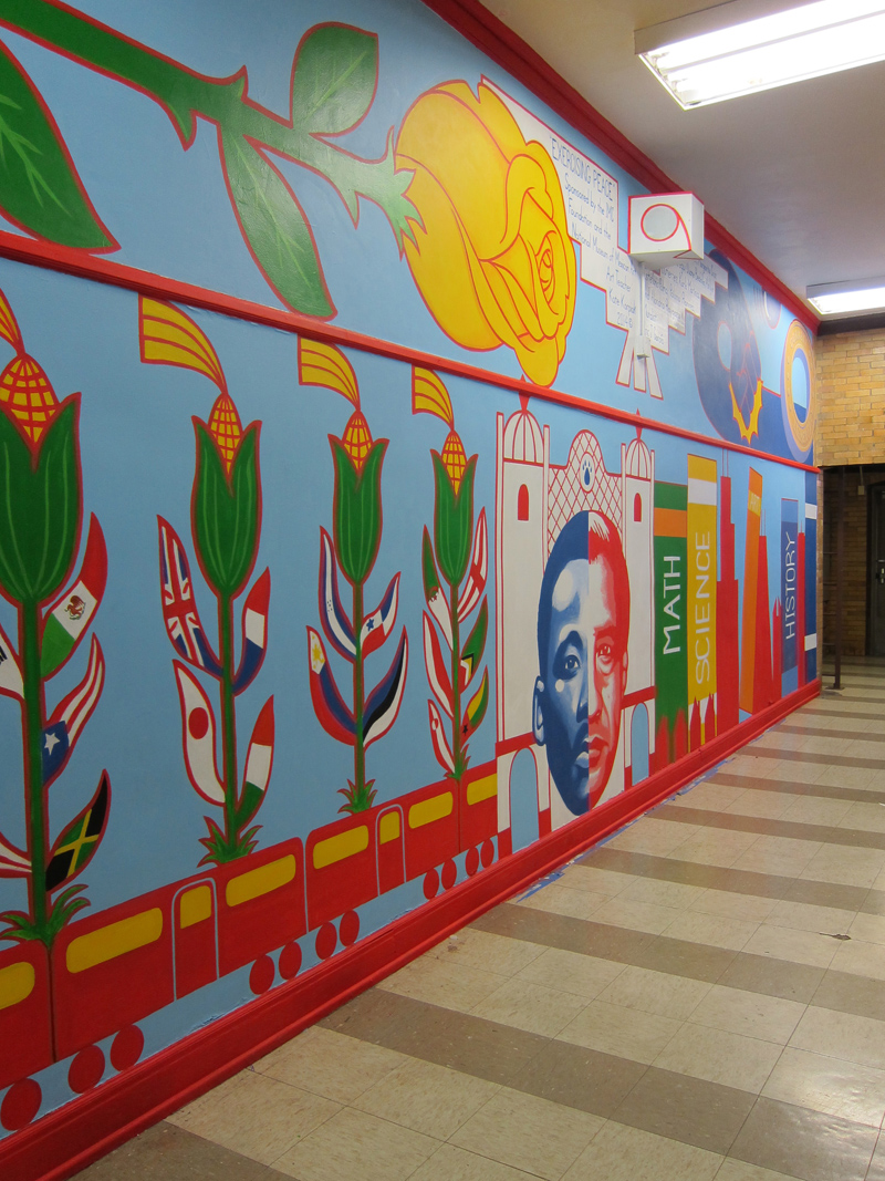 Exercising Peace    W11' x H34' Acrylic mural. Corkery Elementary School, In conjunction with the National Museum of Mexican Art. Chicago, IL, 2014