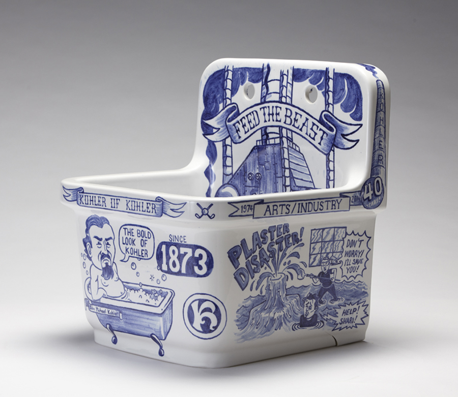 The Bold Look of Kohler       Porcelain sink by Kohler company.  Hand painted with cobalt glaze and kiln fired.  H2'xW2'xD2'  Created at the Arts/Industry residency at Kohler.
