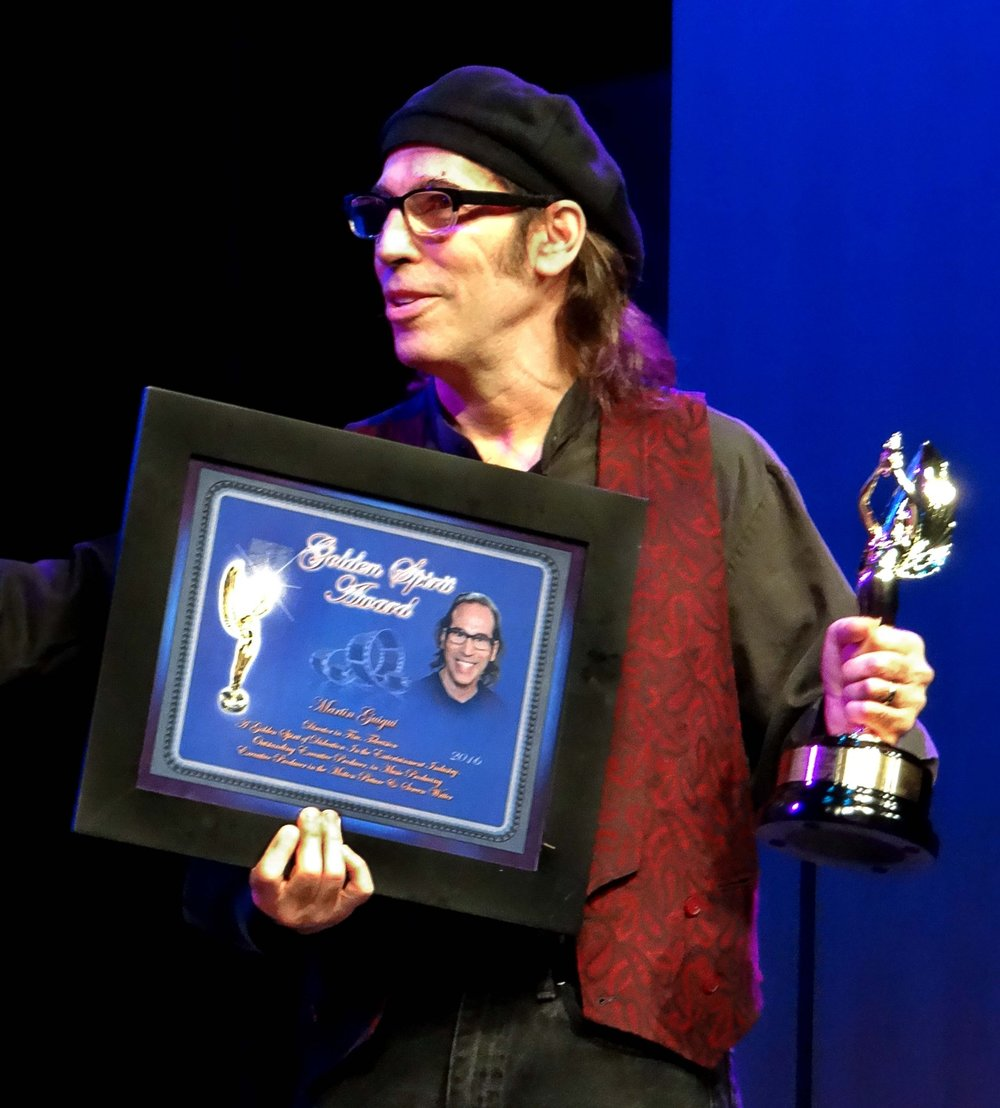 Sunset Pictures producer and musician Martin Guigui receives the Golden Spirit Award by non-profit Hollywood With Students in recognition of his many efforts and creative pursuits.
