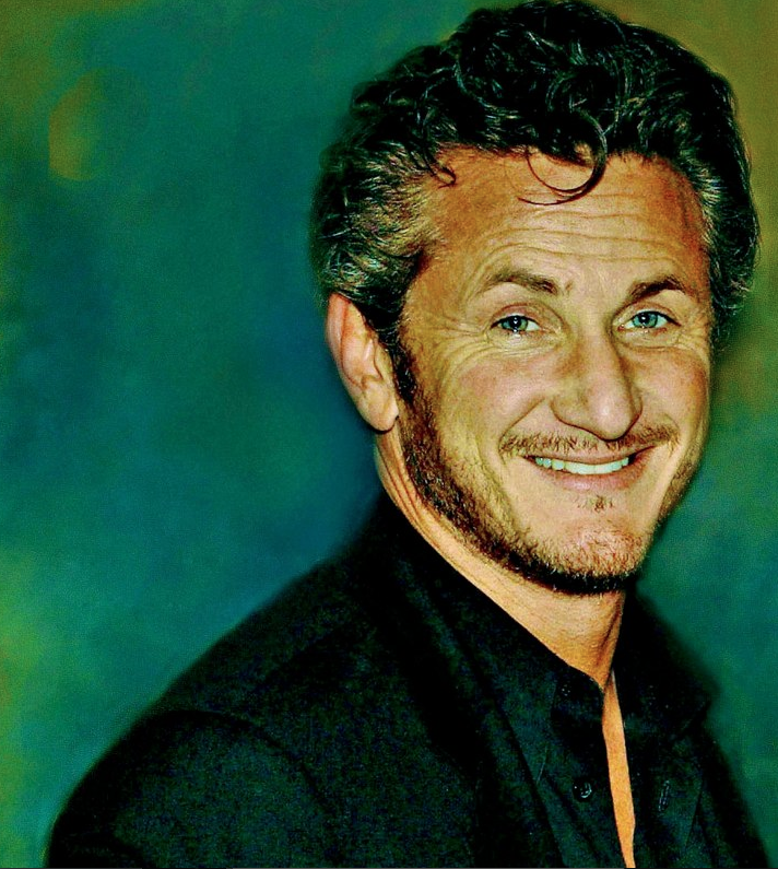 Actor and filmmaker Sean Penn in American Publisher Larry Flynt's office at a private party.