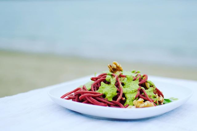 Looking for a quick & tasty dinner dish idea? Pick up a bag of our roasted beet pasta and some pesto mix for a meal that's sure to wow! Available at @madebymillworks in Long Beach 📸 @nikvphotography