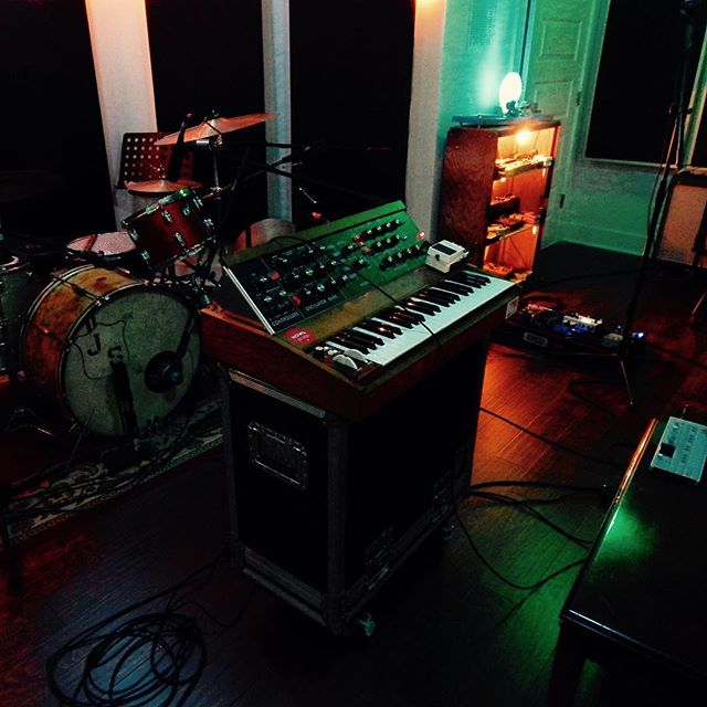 Brandon and Nathan are running a pre-production session today. Nathan has graced us with the presence of the mighty #moog #minimoog #modelD