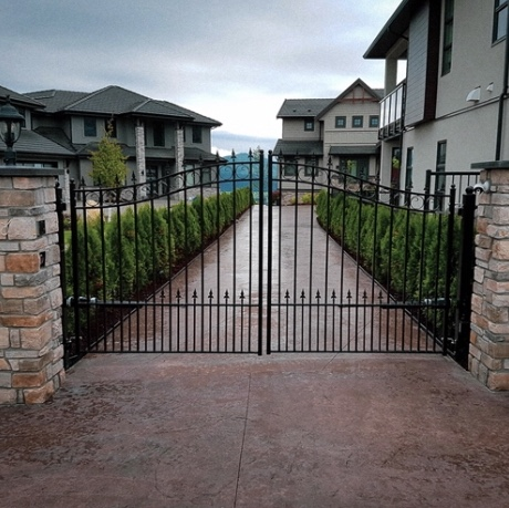 Custom ornamental double swing gates
