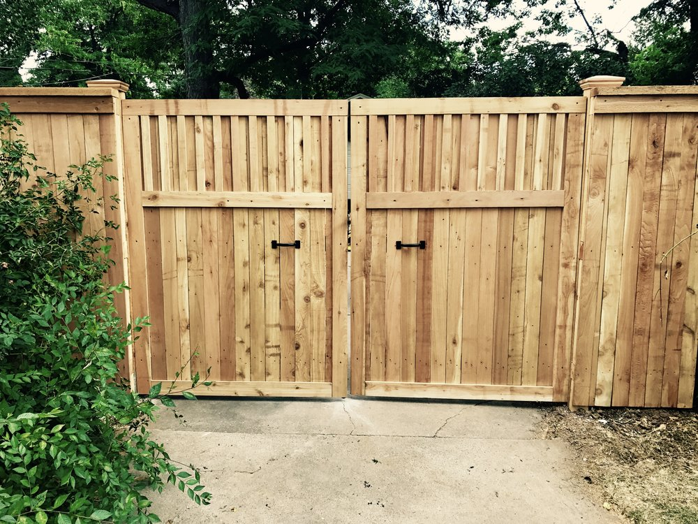 Custom double swing gate - cedar