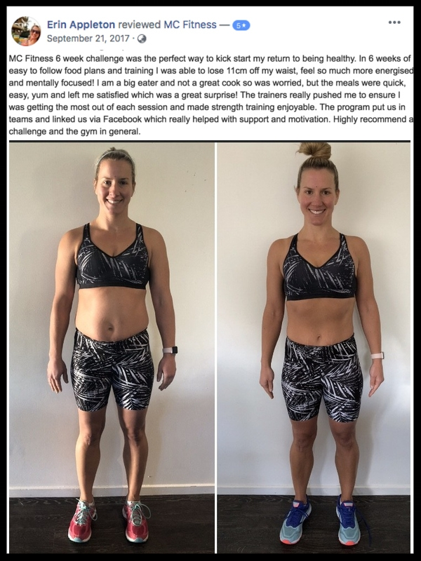 """In 6 weeks of easy to follow food plan and training I was able to lose 11cm off my waist"" - ERIN APPLETON"