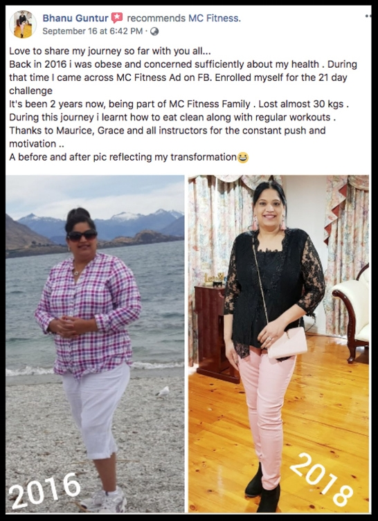 """I lost almost 30kgs…. Thanks to Maurice, Grace and all instructors"" - BHANU GUNTUR"