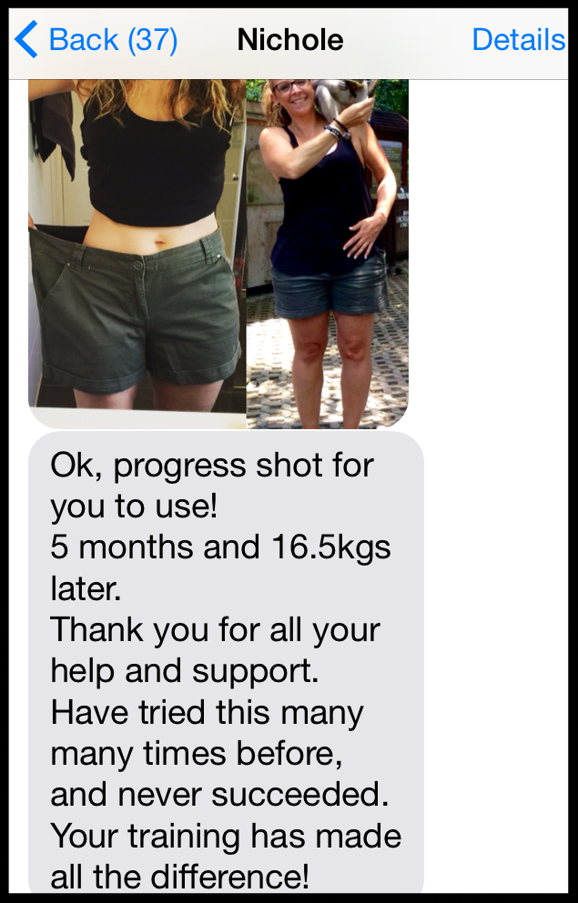 """5 months and 16.5kgs later. Thank you for all your help and support"" - NICHOLE RUSSO MILLER"