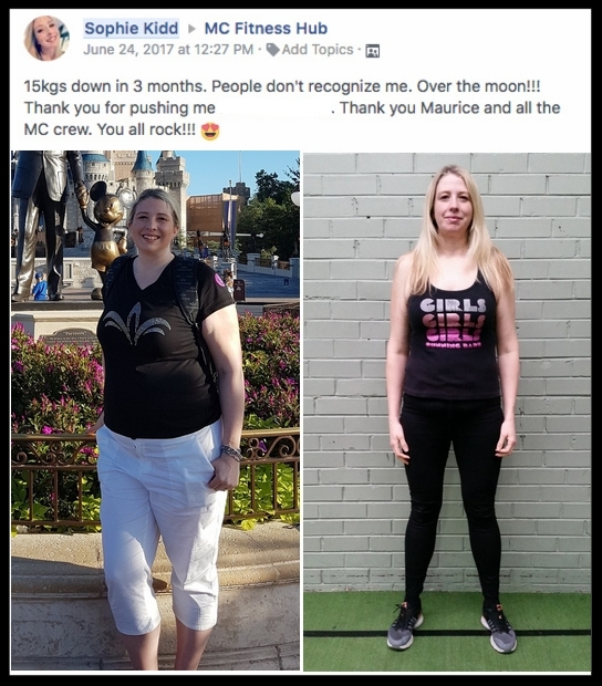 """15kgs down in 3 months. People don't recognise me. Over the moon!!!"" - SOPHIE KIDD"