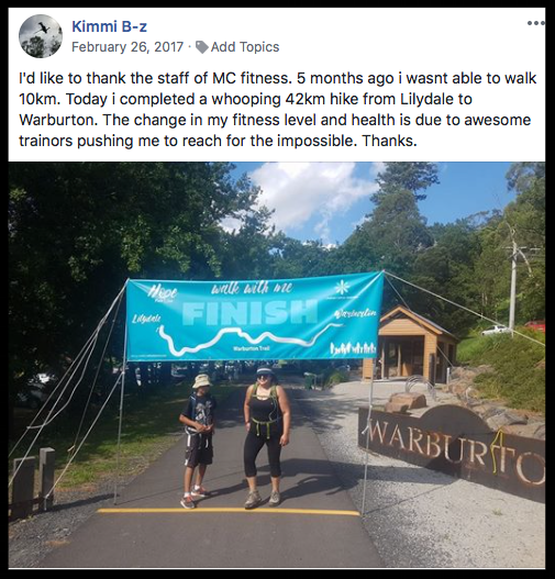 """5 months ago I wasn't able to walk 10km. Today I completed a whooping 42km hike"" - KIMMI B"