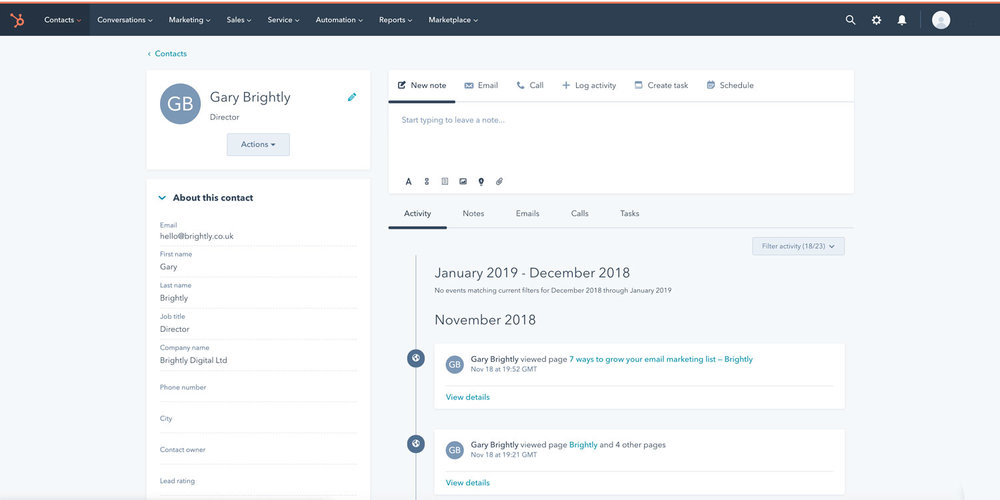 An example of Hubspot's easy to use CRM and lead management tool.