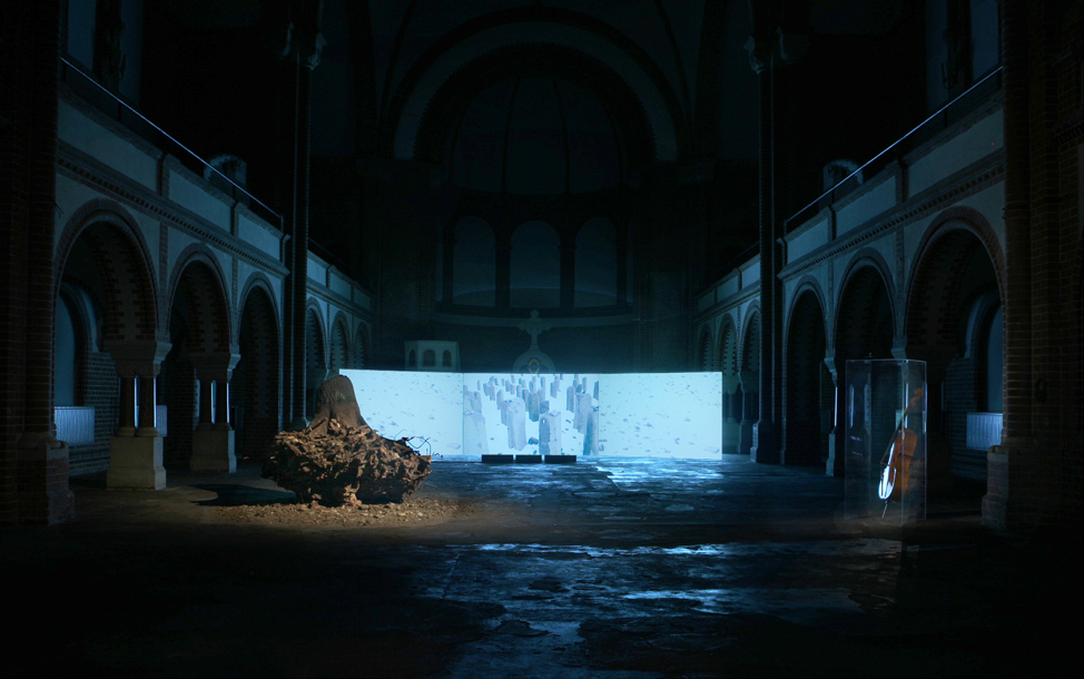 "La racine perdue, le pere de mon pere..  St. Johannes Evengelist Kirche, Berlin, 2008 - From left: I) Root extracted from the Buchenwald Camp II) Video Installation projection on 3 screens 8' 40"" in loop III) Audio installation 1'58"""