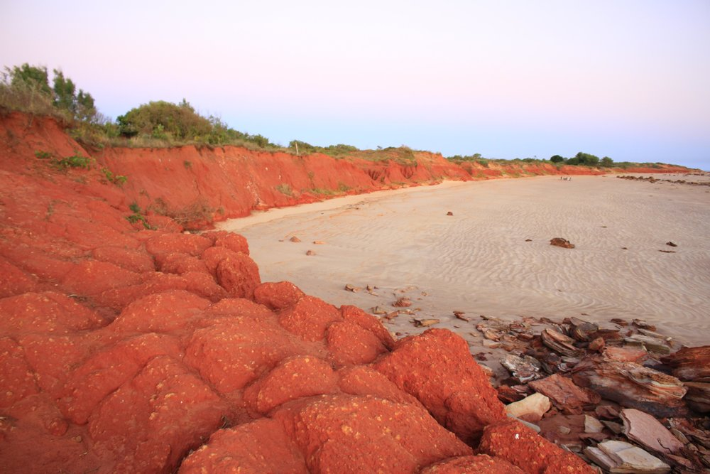 The red-cliffed beaches near Broome's lighthouse