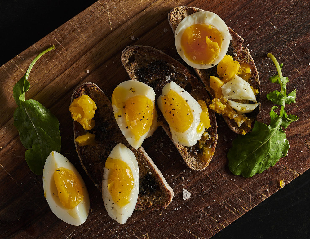 SOURDOUGH RYE  with Marmite, Boiled Eggs and Rocket