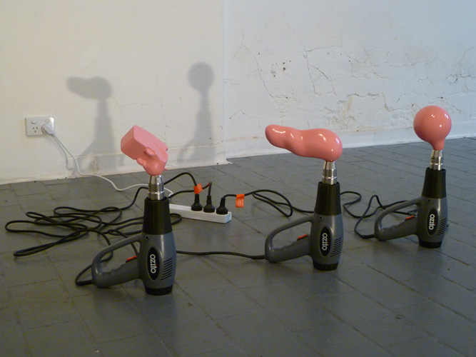 Ozito Sculpture Fabricator,  2011 Ozito Heat Gun, polyester filller, wood, glass, pink enamel paint, powerboard, powerpoint Dimensions Variable   The New Field , 2011, Dark Horse Experiment, Melbourne. group exhibition