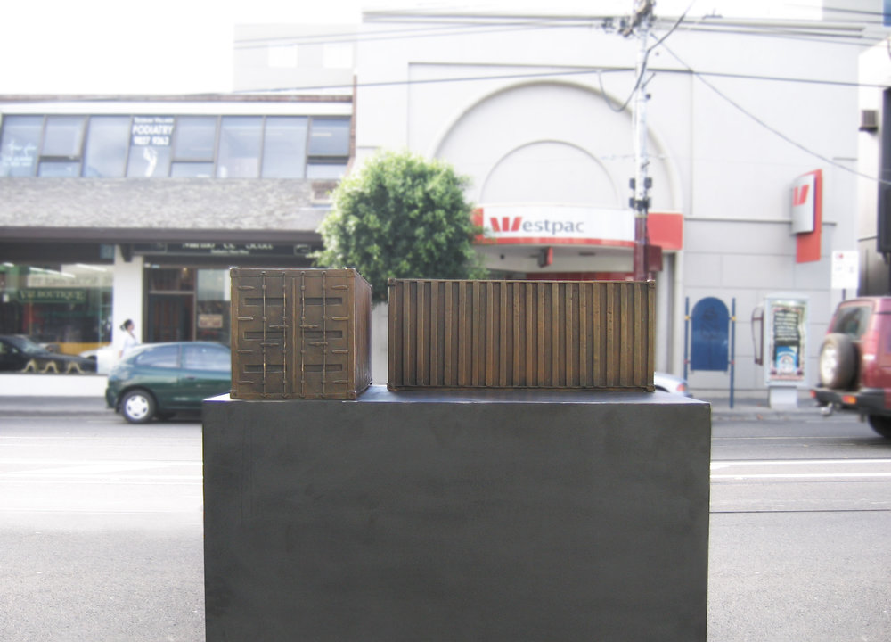 Container,  2007 Bronze 24 x 60 x 24cm x 2 units   Toorak Sculpture Festival