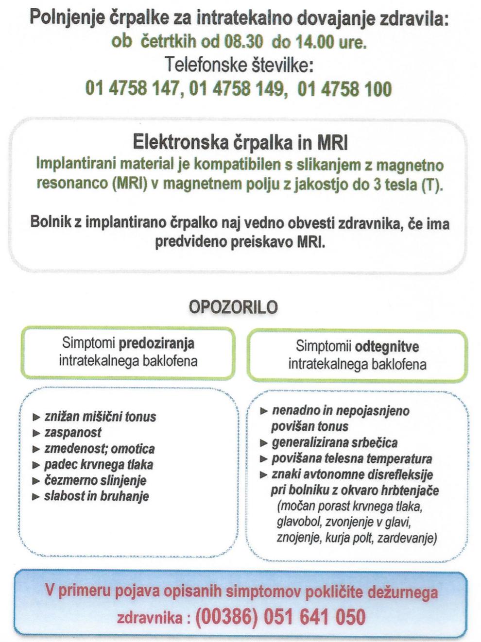 Informacije za paciente, URI-Soča.