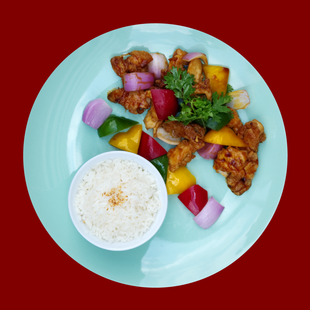 Trio Pepper Chicken  Sauteed chicken with hoisin sauce, accompanied with trio color bell pepper and onions. RM 20