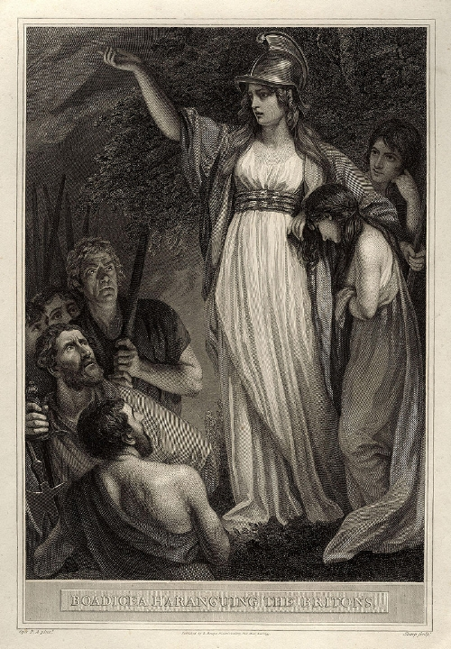 Gravure van koningin Boudicca door William Sharp, 1793.