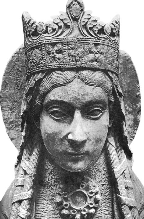 Beeld van koningin Clothilde, Notre-Dame de Corbeil 12e eeuw