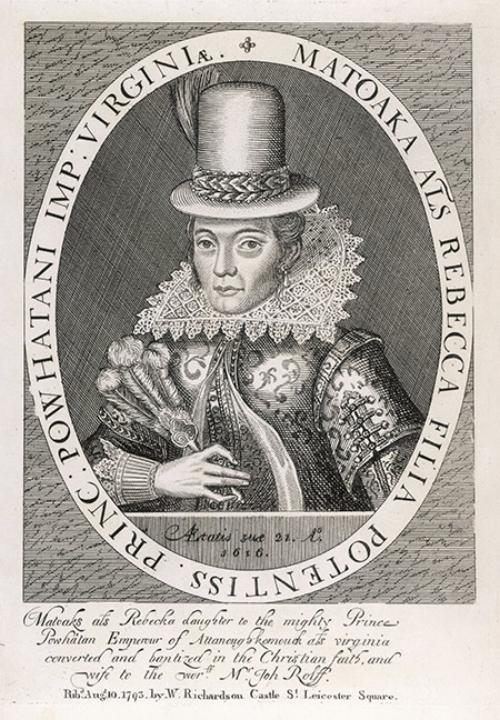 Ets van Pocahontas door Simon van de Passe uit 1616, gemaakt toen  Pocahontas in Engeland was.