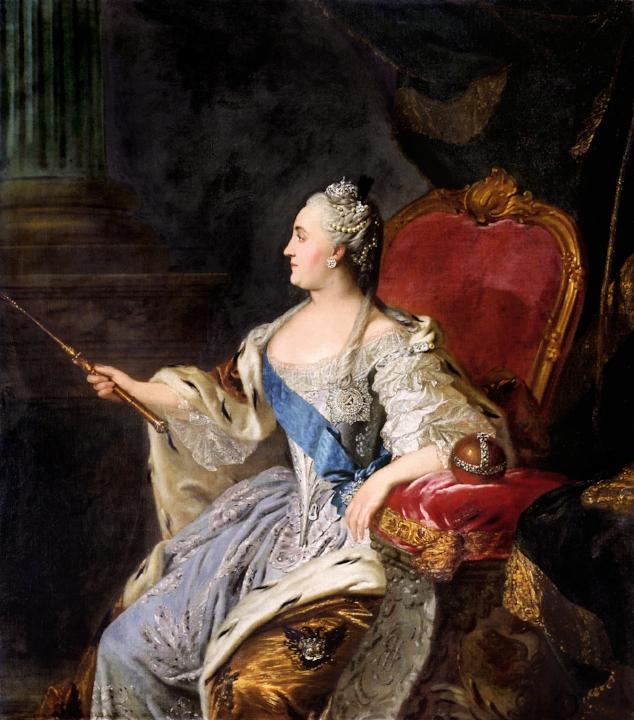 Portret van Catharina de Grote, geschilderd door de Russische Fyodor Rokotov, 1763.